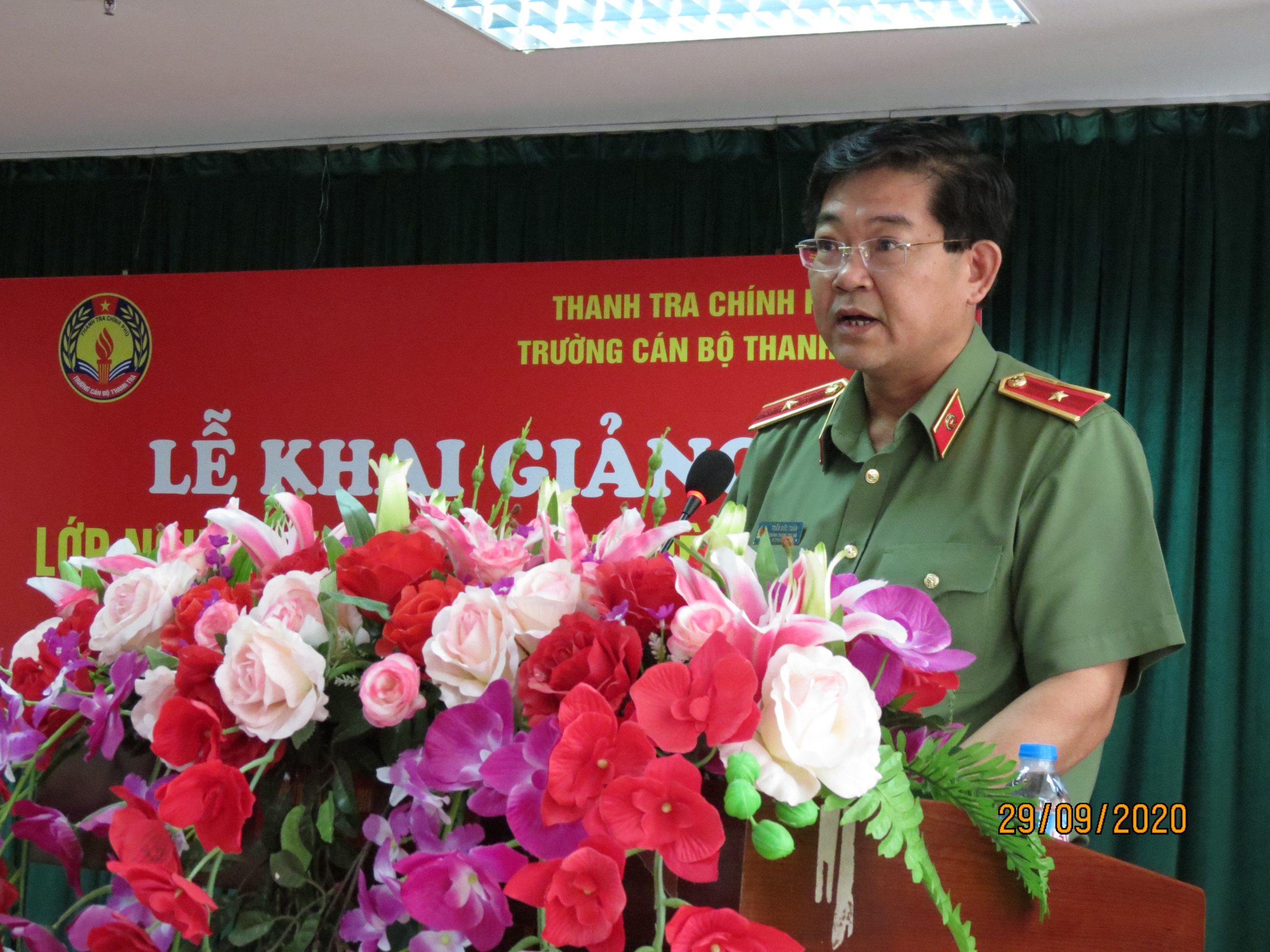 Thiếu tướng Trần Đức Tuấn CTT Bộ Công an phát biểu tại Lễ khai giảng