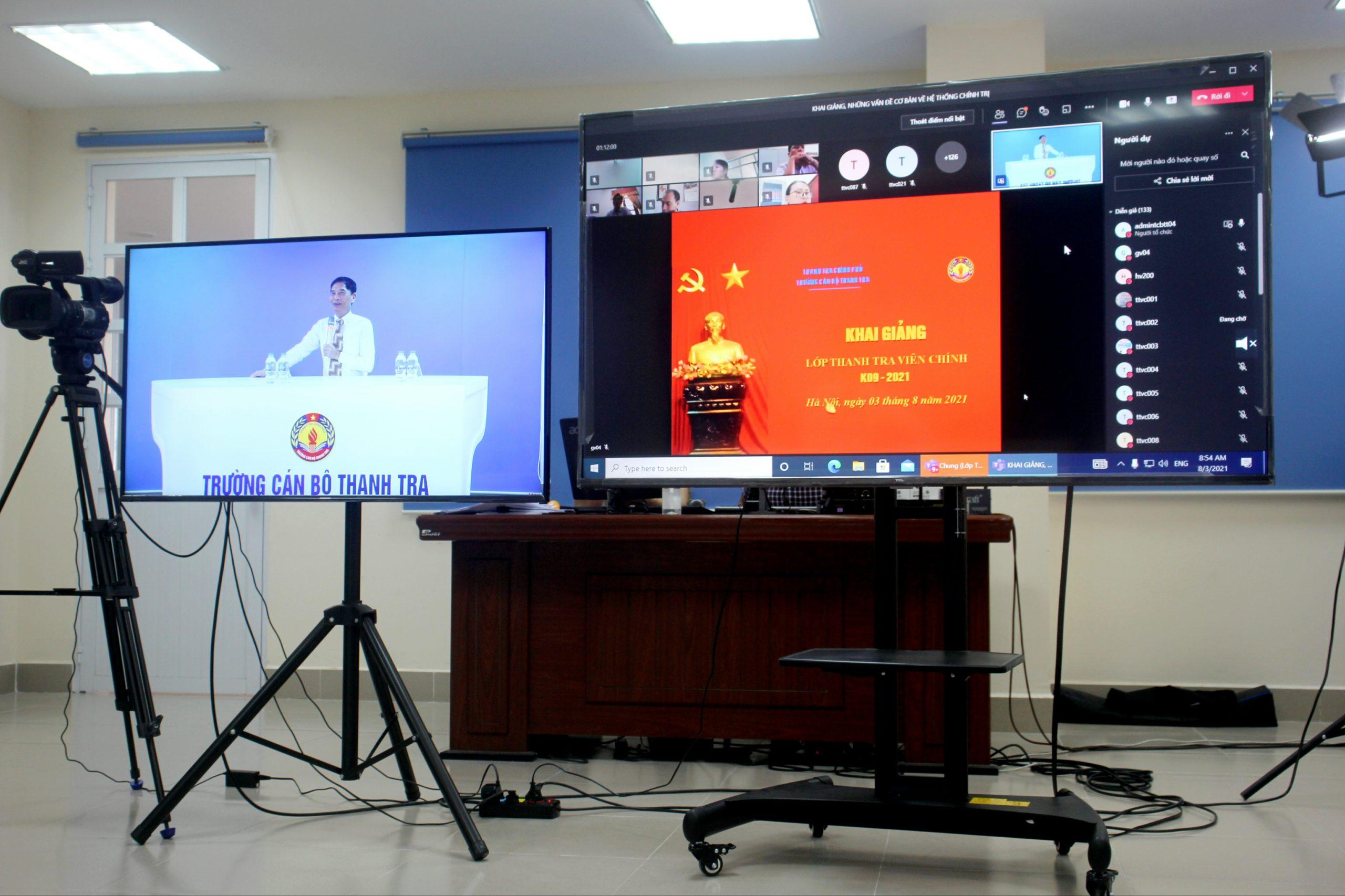 Khai giảng lớp Nghiệp vụ thanh tra viên chính Khóa 09/2021 theo hình thức trực tuyến